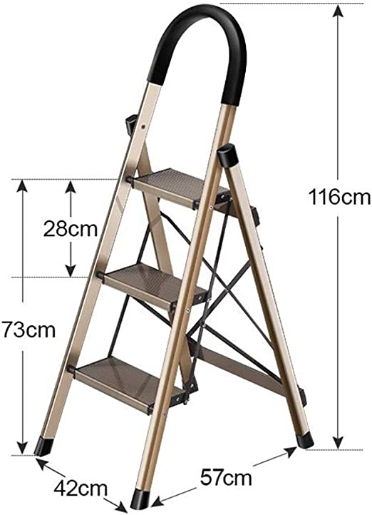 Huahua Furniture Plegables Hogar Escaleras, Escalera de Paso de Aluminio de Alta Resistencia de 3/4 Pasos Plegable Paso a Paso para el hogar portátil con tapete Antideslizante (Size : 3 Steps): Amazon.es: Hogar