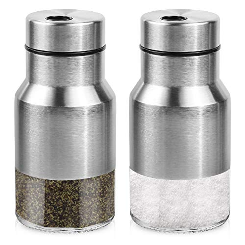 - Premium Salt And Pepper Shakers - Stainless Steel Set Of 2 - Elegant Salt And Pepper Dispenser With Adjustable Pour Holes - Perfect For Your Favorite Sea, Kosher And Himalayan Salts