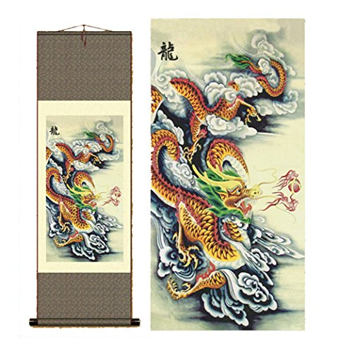 (Sunmir TM Silk scroll painting chinese dragon painting)