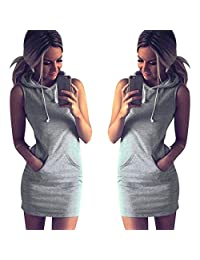 ANBOO Fashion Womens Summer Casual Sleeveless Hoody Dress