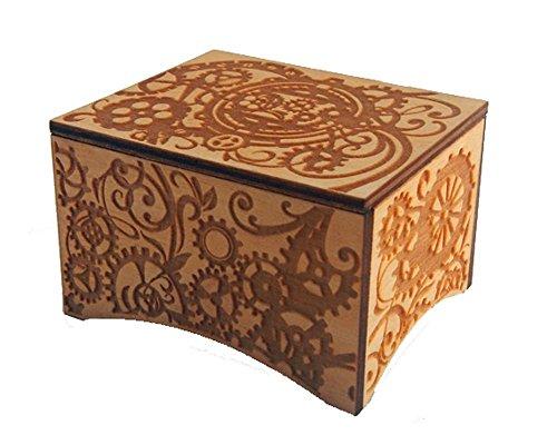 Personalizable Windup Music Box, 'La Vie En Rose' by Edith Piaf, Laser Engraved Birch Wood (Steampunk Standard)
