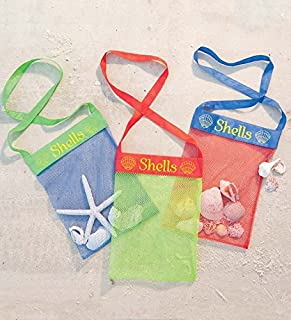 product image for Set of 3 Colorful Mesh Sea Shell Collecting Bags - Beach and Sand Toys - Shoulder Strap - Reusable - Bags Measure Approx. 10 x 13
