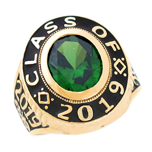 14k Gold Simulated May Birthstone 2019 Class Graduation Mens Ring
