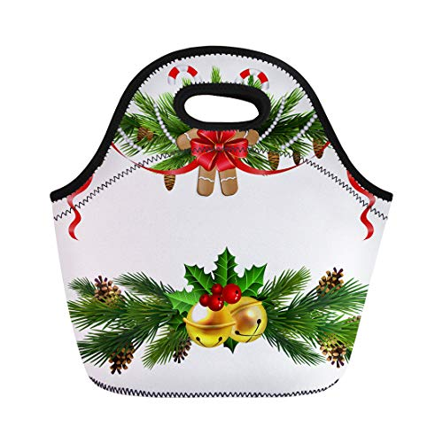 Semtomn Neoprene Lunch Tote Bag Red Ball Christmas Evergreen Trees Poinsettia and Bells Berry Reusable Cooler Bags Insulated Thermal Picnic Handbag for Travel,School,Outdoors,Work