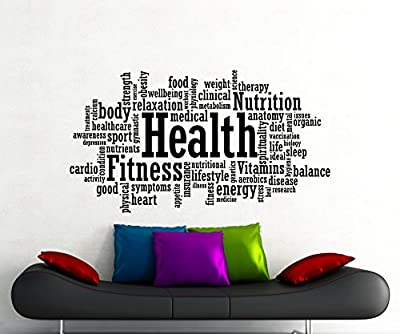 Health Fitness Motivation Word Cloud Wall Decal Healthy Lifestyle Gym Sports Training Place Vinyl Sticker Home Interior Art Decoration Any Room Mural Waterproof High Quality Vinyl Sticker (90gy)