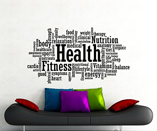 (Health Fitness Motivation Word Cloud Wall Decal Healthy Lifestyle Gym Sports Training Place Vinyl Sticker Home Interior Art Decoration Any Room Mural Waterproof Vinyl Sticker (90gy))