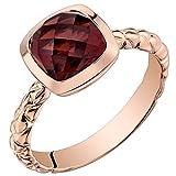 14k Rose Gold Garnet Cushion Cut Woven Solitaire Dome Ring (2.50 carat)