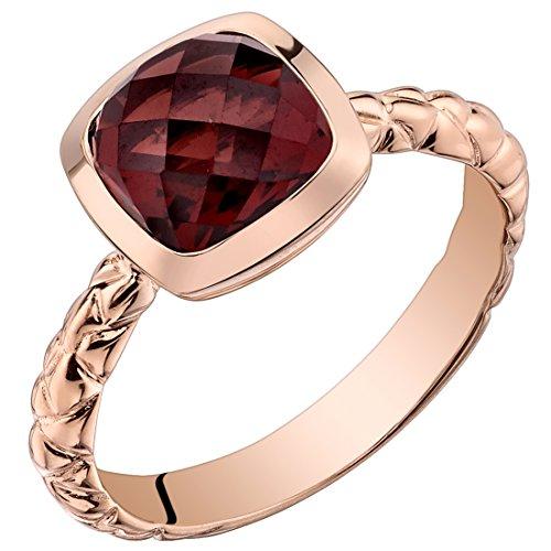 Cut Garnet Ring - 14k Rose Gold Garnet Cushion Cut Woven Solitaire Dome Ring (2.50 carat) Size 7