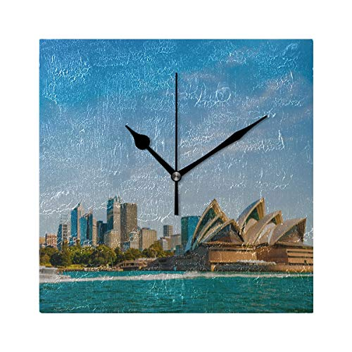 (ZHRX Kids Wall Clocks for Boys City Skyline Sydney Australia Circular Quay Square Silent Non Ticking Printing Acrylic 7.8 Inch Wall Clocks for Men)