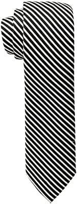 Calvin Klein Men's Black & White Mini Bar Stripe Slim Tie