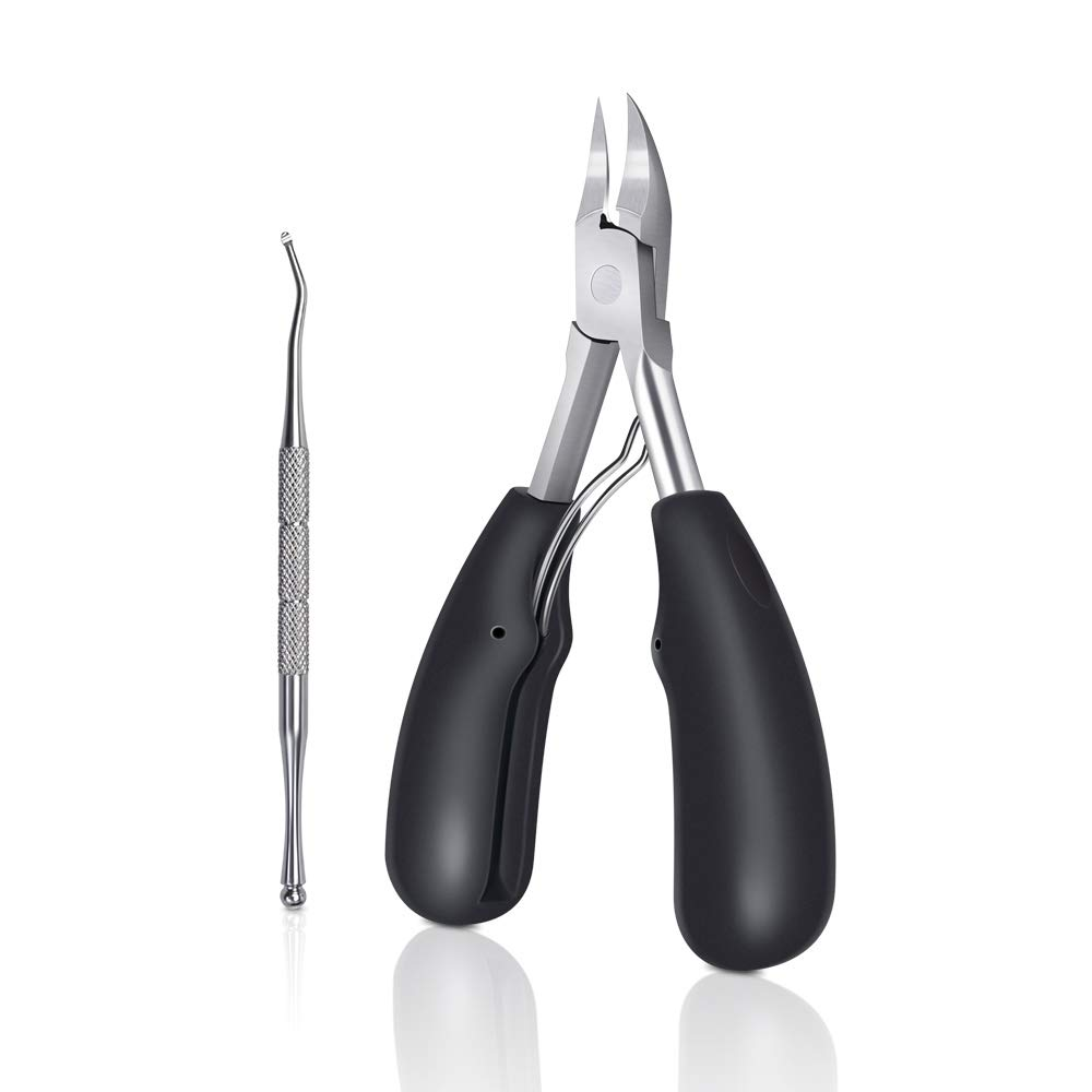 CHUHUAYUAN Toenail Clippers for Thick Toenails, Sharp Blade Nails Nipper Professional Stainless Steel Ingrown Toenail Tool Set with Nail Lifter, Heavy Duty Nail Trimmer with Easy Grip Large Handle by CHUHUAYUAN