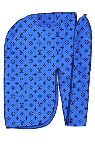 Customs Slippery Apparel | Designer Durag (30+ Designs) Fashion Durags LV Supreme Ape & More (Blue Lv) (High-fashion-designer)