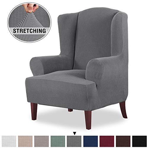 High Stretch Jacquard Spandex Fabric Wing Back Armchair Chair Slipcovers for Living Room 1 Piece Durable Wing Chair Slipcover Furniture Protector, Machine Washable (Wing Chair Cover, Gray) (Slipcovers For Living Room Chairs)