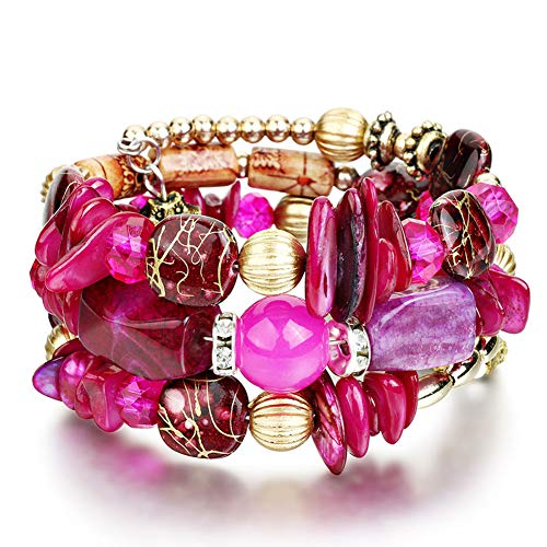 (liujun Bohemia Multilayer Colorful Stone Wrap Wristband Mens Resin Acrylic Blessing Energy Beads Bracelet Layered Multi-Color Bead Elastic Bracelet Bangle for Women Girls (Rose red) )