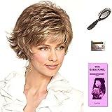 Mason by Noriko, Wig Galaxy Hair Loss Booklet, Wig Cap, & Loop Brush (Bundle - 4 Items), Color Chosen: Silver Stone