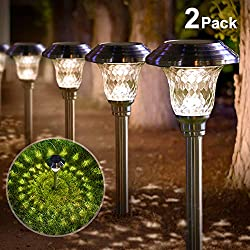 Solar Lights Outdoor Garden Path Glass Stainless Steel Waterproof Auto On/off Bright White Wireless Sun Powered Landscape Lighting for Yard Patio Walkway Landscape In-Ground Spike Pathway Light 2 Pack