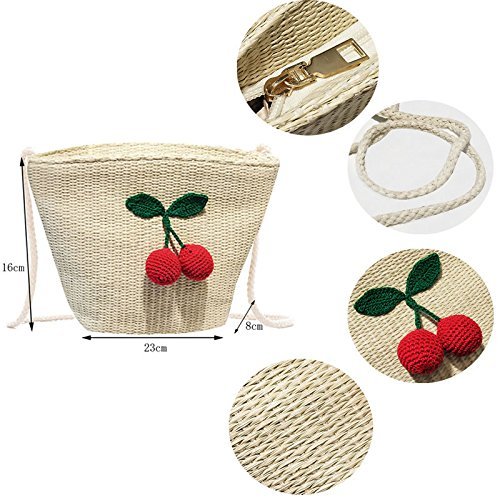 Pt5 Cherry Tiss¨¦ t¨¦ Sacs De Paillettes Sacs Sacs Femmes Bandouli¨¨re Sac Paille Main Plage Lady Sacs Abuyall Straw Fruit Messenger Ananas CFgqc