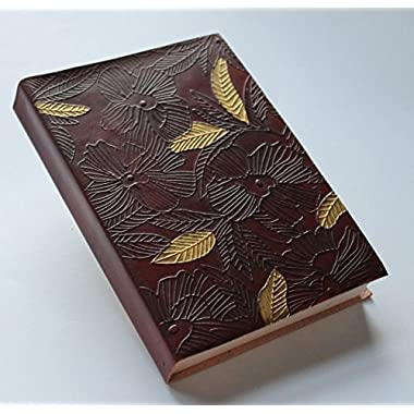 Blossom Embossed Leather Journal Diary (Handmade Parchment Paper) with Gold accent
