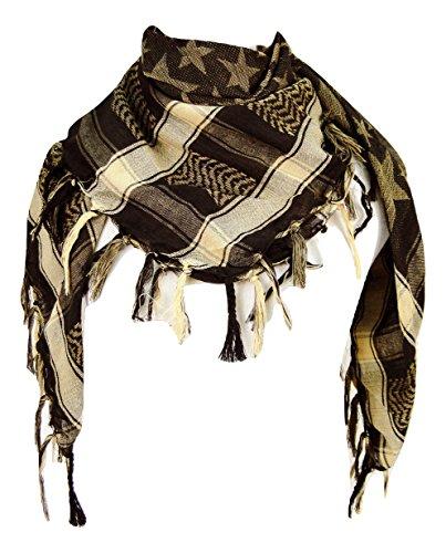 Premium Star Pattern Shemagh Head Neck Scarf - Black/Camel