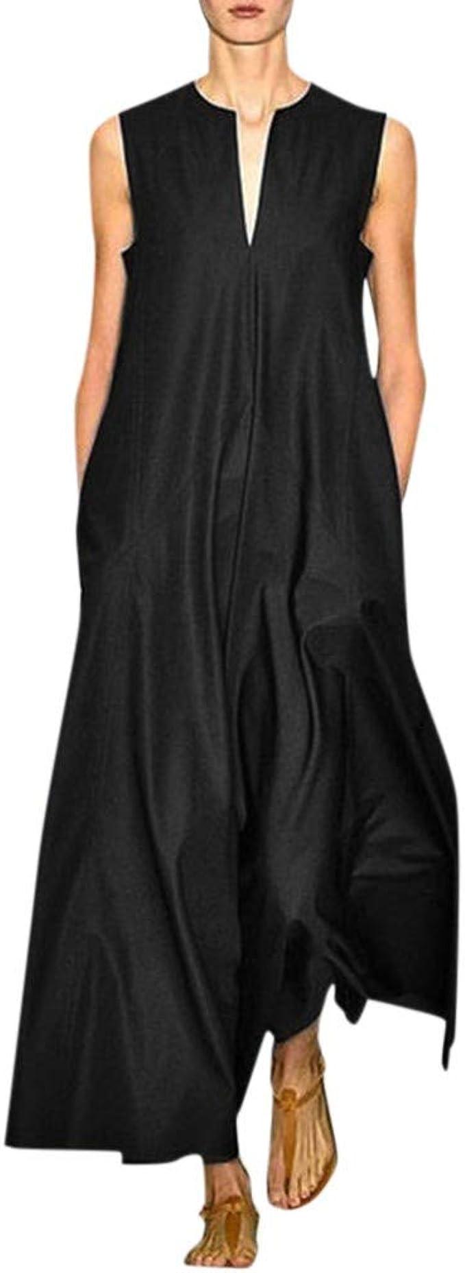 New Design  Cotton Dress Soft Long Sundress Casual Sleeveless Loose Summer Maxi Dresses Customized Plus Size Clothing Linen