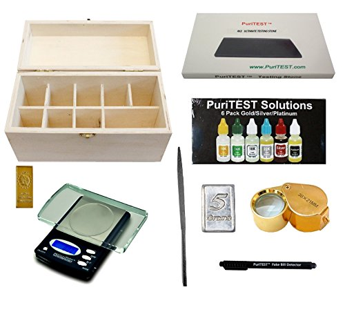 Quality Jewelry Testing Kit 10k 14k 18k 22k Gold, Platinum, Silver .999 Acids, Wood Storage Box, Test Stone, 30x Loupe, Scale, Counterfiet Detector Pen, File, 5gn Silver Bar, 5g Fake Gold Bar by PuriTEST