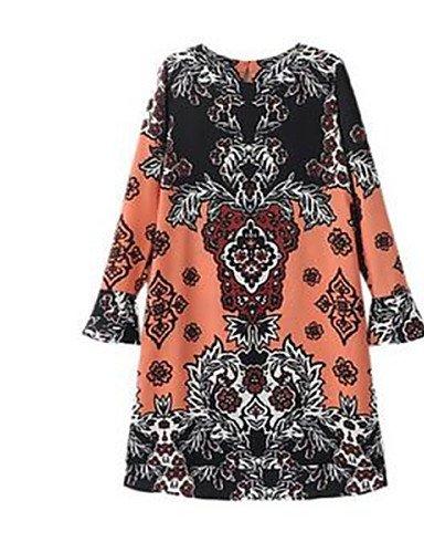 PU&PU Robe Aux femmes Ample Simple,Imprimé Col en V Au dessus du genou Polyester , orange-one-size , orange-one-size