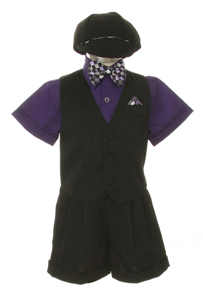 Dress Shorts Suit Tuxedo Vest Outfit Set-Infant Baby Boys & Toddler,Black-Purple