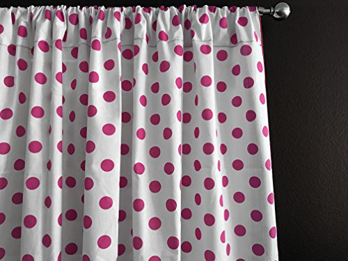 Zen Creative Designs Polka Dots on White Cotton Curtain Panel Perfect for Bed Room Window, Children's Room Window, Living Room Window Decor (Fuchsia Dots, 36'' Tall x 58'' Wide) by Zen Creative Designs