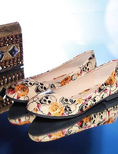 PDX caqui rojo mujer de sintética punta piel de negro Flats us8 Casual plano talón uk6 cn39 zapatos black redonda eu39 rqOrx64wR
