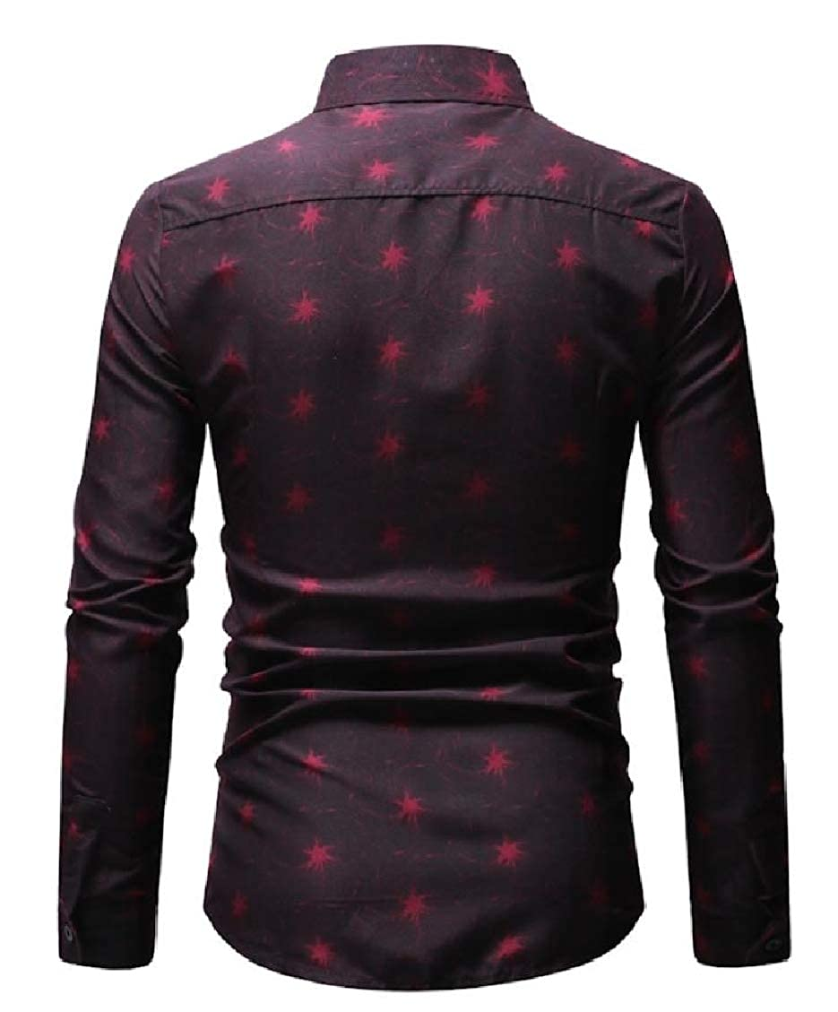 Sweatwater Mens Printing Long Sleeve Turn Down Dress Button Front Shirts
