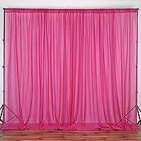 BalsaCircle 10 feet x 10 feet Sheer Voile Backdrop Drapes Curtains Panels - Fuchsia