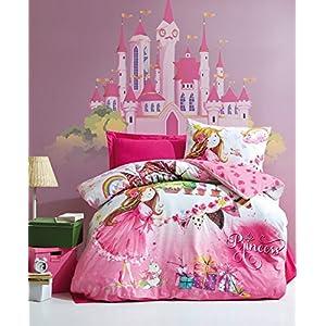 DecoMood 100% Cotton Princess Bedding, Princess Castle Kitty Themed Single/Twin Size Duvet Cover Set, Pink (3 Pcs)
