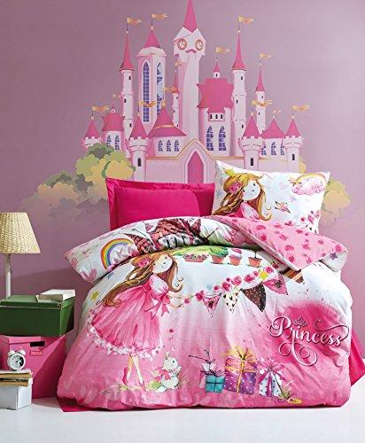 Princesa juego de cama, 100% algodón juego de funda de edredón tamaño individual/Twin, princesa y castillo temática de...