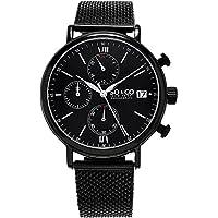 SO & CO New York Monticello 5266M.3 Men's Chronograph Black Case Stainless Steel Mesh Bracelet Date 5 ATM Quartz Wrist Watch