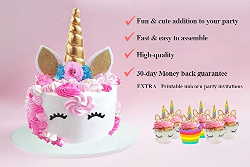 photograph regarding Unicorn Cupcake Toppers Printable titled Cupcake Toppers (Fastened of 52) La La Unicorn Cake Topper Cupcake Occasion Decorations - Horn Gold,