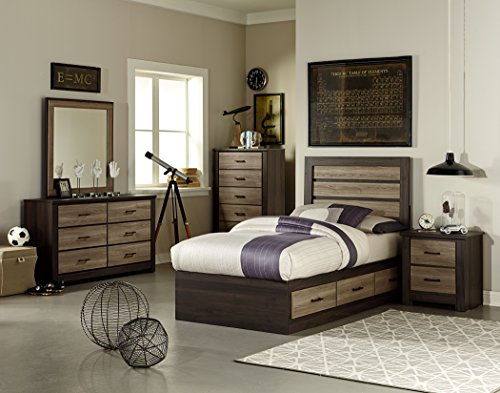 FurnitureMaxx Odin Smoky Brown Oak & Weathered Grey Birch Color Engineer Wood products Twin Captain Bed, Dresser, Mirror, Nightstand, (Oak Captains Bed)