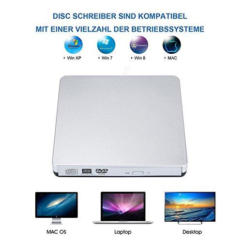 TOPTRU External CD Drive USB 2.0 DVD Burner Reader Recorder Writer Rewriter for Win10/Win8/Apple Macbook Pro, Desktop, Laptop,Notebook by TOPCHU (Image #5)