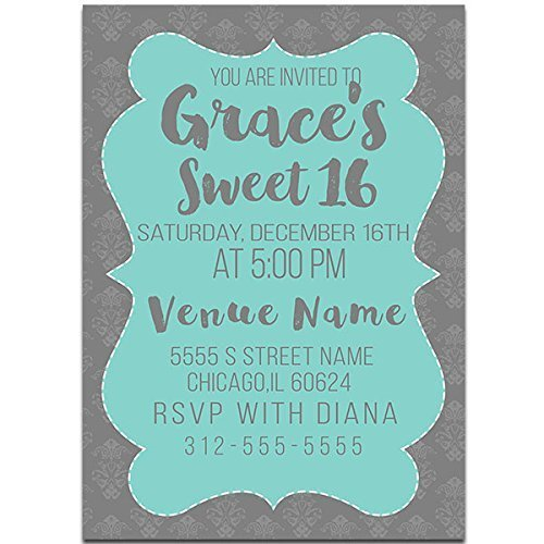 Floral Mint Sweet Sixteen 16 Birthday Party Invitations