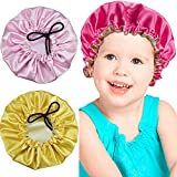 3 Pieces Kids Satin Bonnet Adjustable Sleeping Cap Reversible Satin Cap for Teens Toddler Child (Color Set 1)