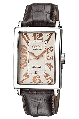 Gevril Men's 'Avenue of Americas' Automatic Stainless Steel and Leather Casual Watch, Color:Brown (Model: 5060)