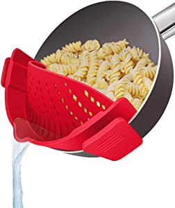 YEVIOR Clip on Strainer for Pots Pan Pasta Strainer, Silicone Food Strainer Hands-Free Pan Strainer, Clip-on Kitchen Food Strainer for Spaghetti, Pasta, Ground Beef Fits All Bowls and Pots - Red