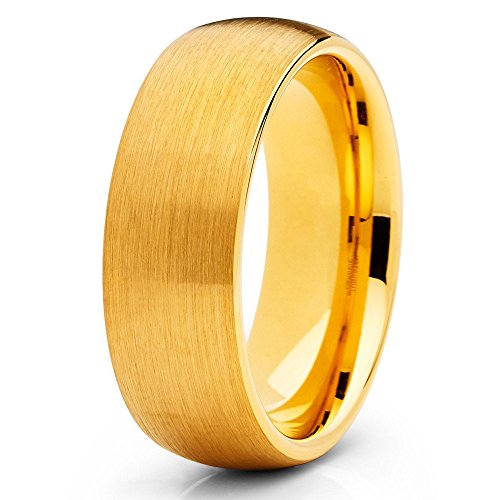 18k Yellow Gold Dome - Silly Kings 8mm Yellow Gold Tungsten Carbide Wedding Ring Dome Brushed Men & Women Comfort Fit