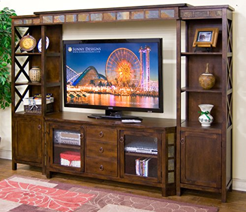 Sunny Designs K3416DC Santa Fe Entertainment Wall with Bridge, Two Piers and TV Console - Santa Fe Entertainment Wall