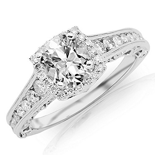 (1.69 CTW GIA Certified Platinum Vintage Halo Style Channel Set Round Brilliant Diamond Engagement Ring (0.94 Ct Milgrain F Color VS2 Clarity Cushion Cut)