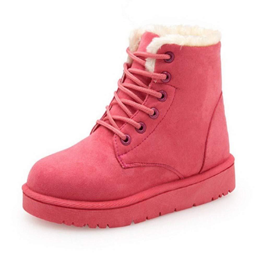 FMWLST Stiefel Heiße Frauen Stiefel Winter Warme Schnee Stiefel Frauen Spitze Pelz Stiefeletten Damen Winter Damenschuhe