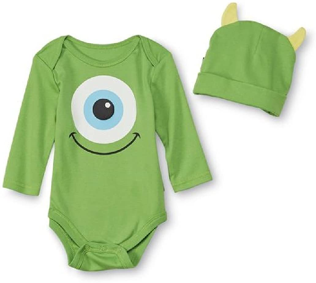 Amazon Com Disney Baby Monsters Inc Infant Onesie With Hat Mike Wazowski 6 9m Green Clothing