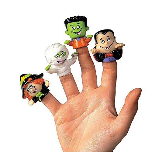 Dozen Vinyl Halloween Character Finger Puppets (Witch, Dracula,