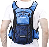 Insulated Hydration Backpack with 2L BPA FREE Bladder - Keeps Liquid Cool up to 5 Hours - Waterproof pack for Running, Hiking, Cycling, Camping (Blue - With Waist Pack)
