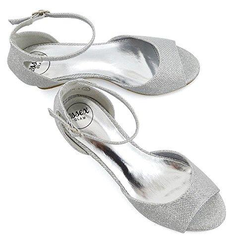 Essex Glam Femmes Talons Compensés Cheville Sangle Peep Toe Sandales De Soirée Argent Paillettes