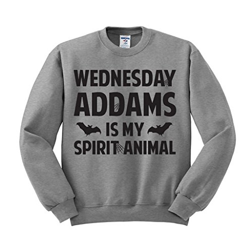 Wednesday Addams is My Spirit Animal Sweatshirt Unisex Large Grey